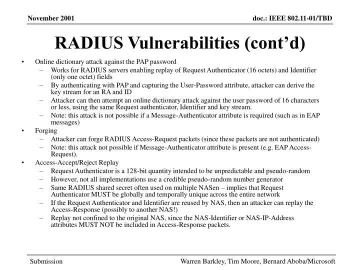 RADIUS Vulnerabilities (cont'd)