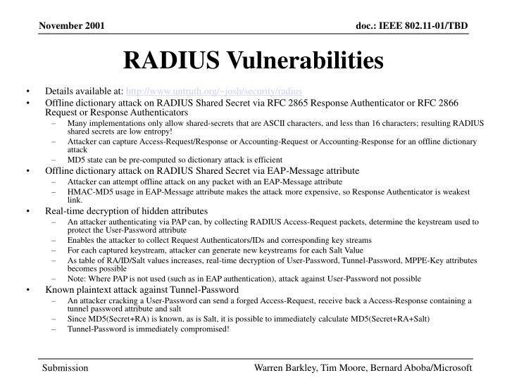 RADIUS Vulnerabilities