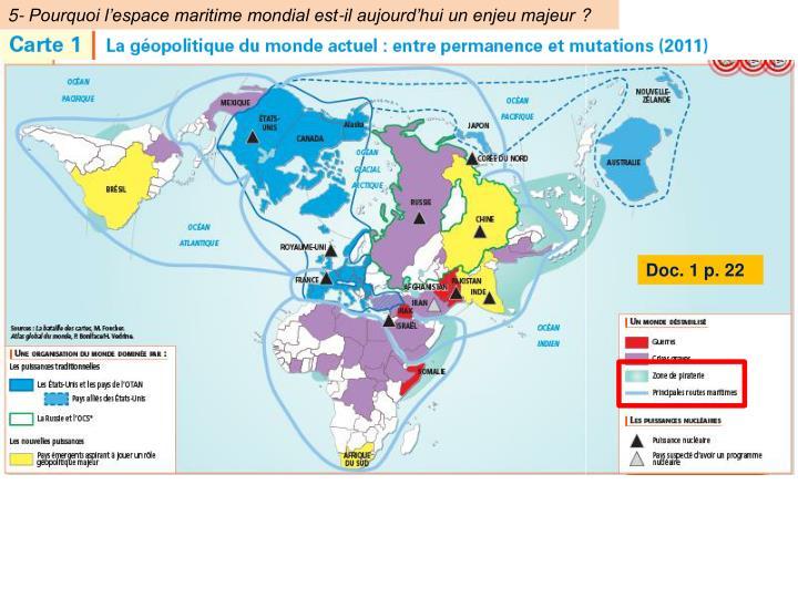 5- Pourquoi l'espace maritime mondial est-il aujourd'hui un enjeu majeur?