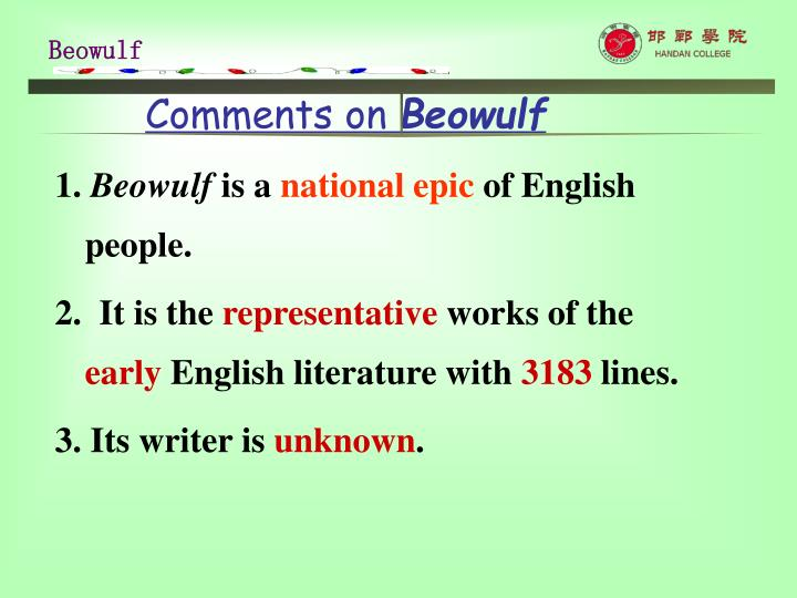 Comments on beowulf