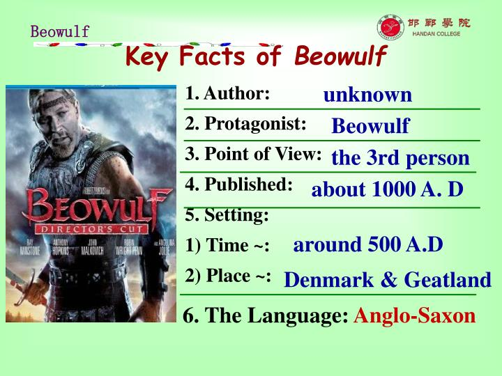 Key facts of beowulf