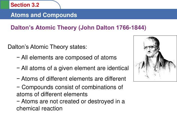 Dalton's Atomic Theory (John Dalton 1766-1844)
