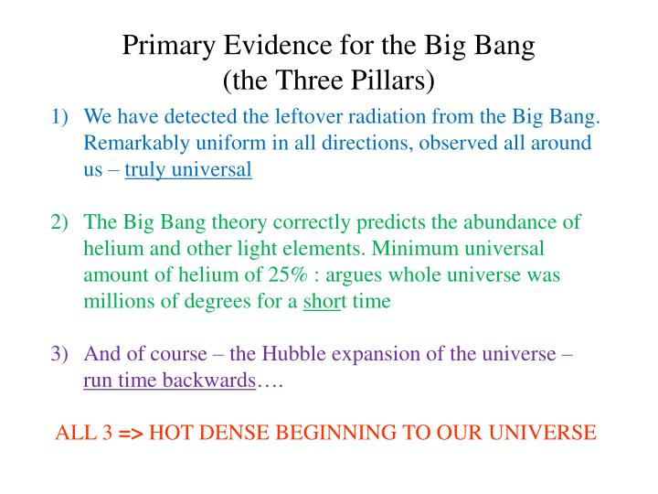 Primary Evidence for the Big Bang