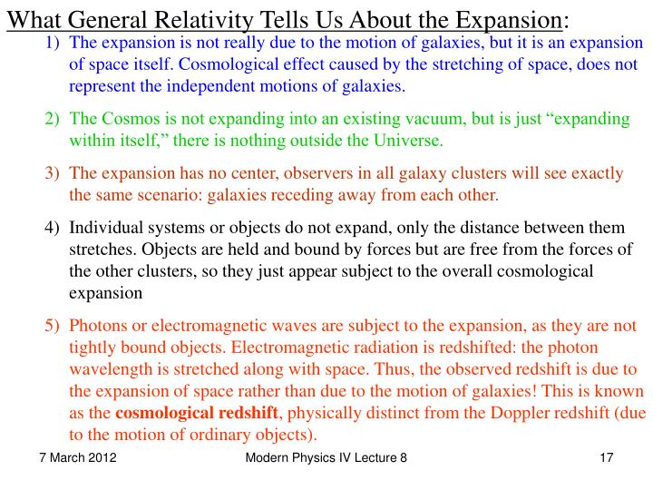 What General Relativity Tells Us About the Expansion