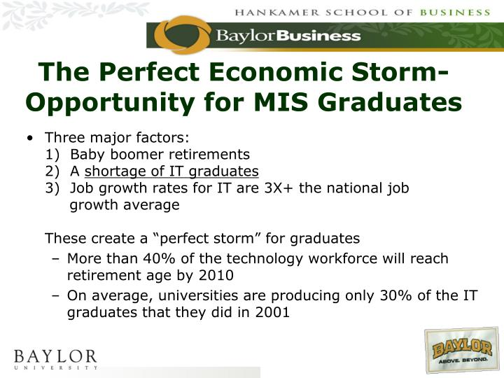The Perfect Economic Storm-Opportunity for MIS Graduates