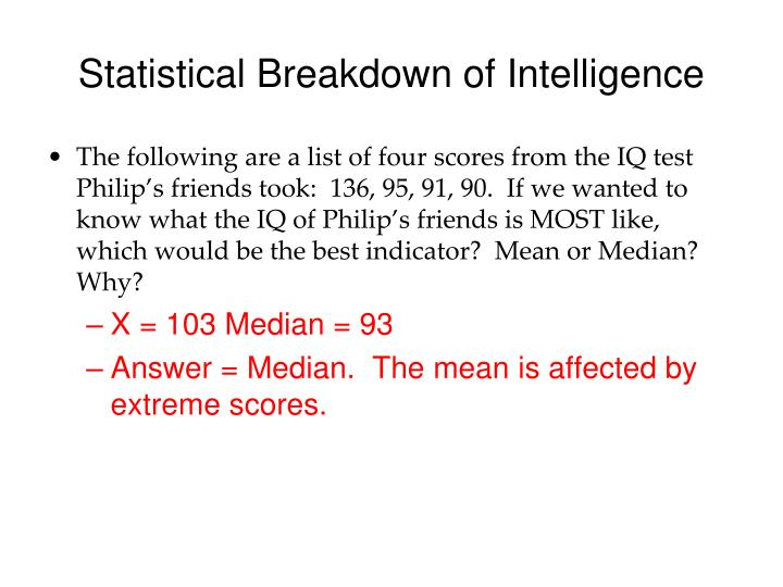 Statistical Breakdown of Intelligence