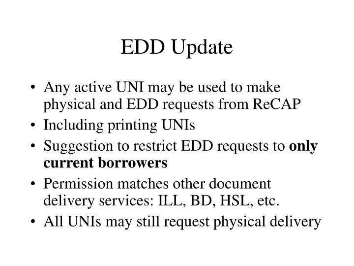 EDD Update