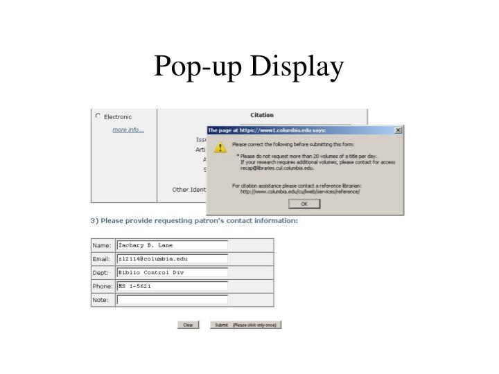 Pop-up Display