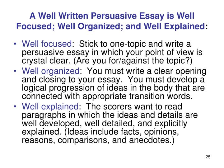 well organized essays Essay writing is not all about skill but it's about practice some people think that they are not inborn writers so they cannot devise a good essay while the truth lies opposite way anyone can write a good essay if he/she knows the right way to organize the ideas and thoughts related to the subject of essay the organization of.