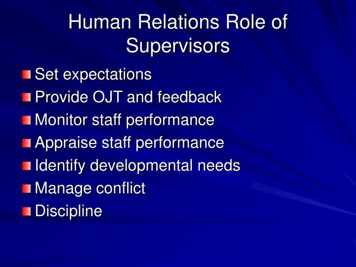 Human Relations Role of Supervisors