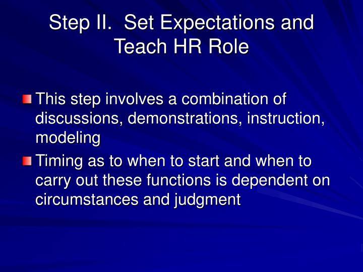Step II.  Set Expectations and Teach HR Role