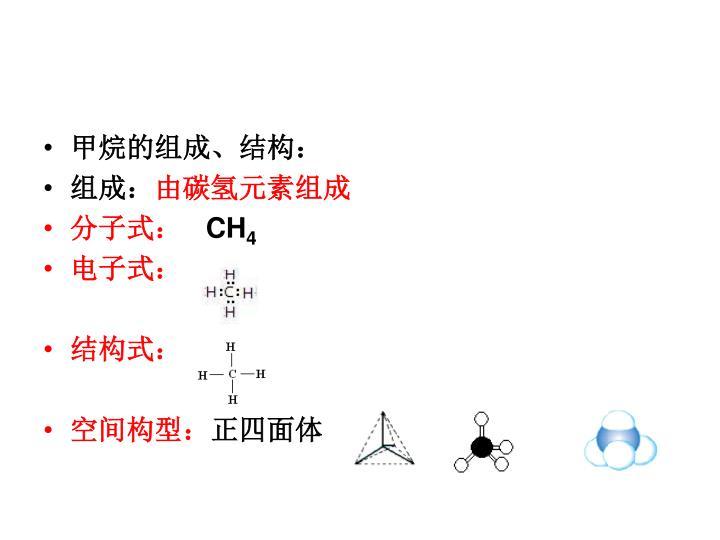 甲烷的组成、结构: