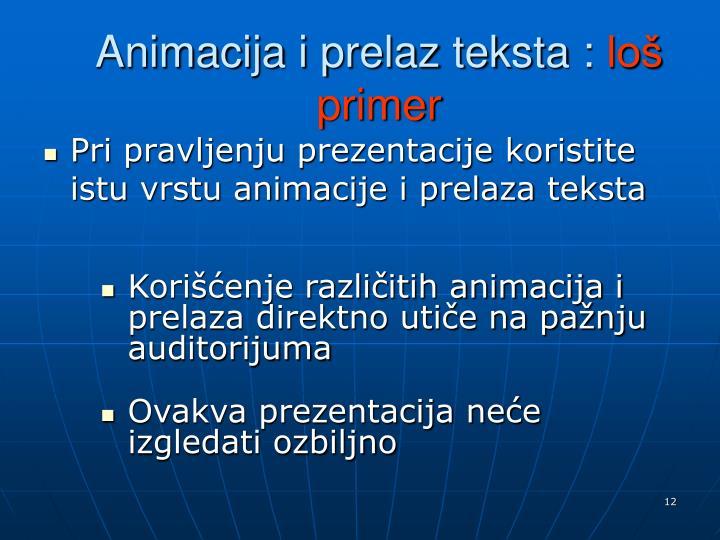 Animacija i prelaz teksta :