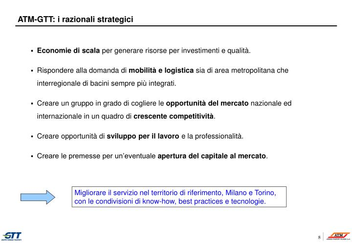ATM-GTT: i razionali strategici