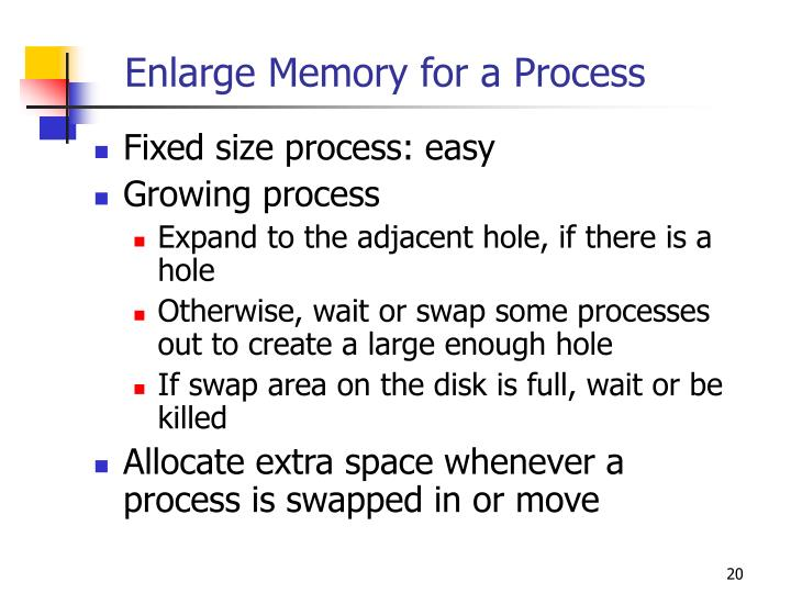 Enlarge Memory for a Process
