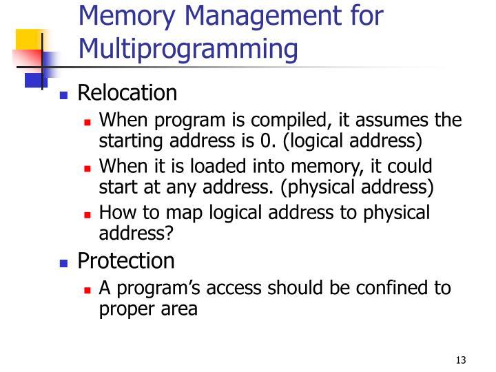 Memory Management for Multiprogramming