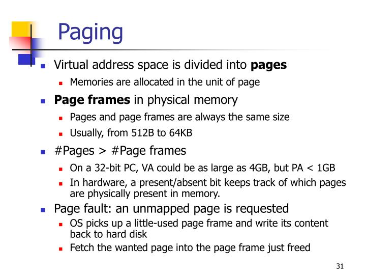 Virtual address space is divided into