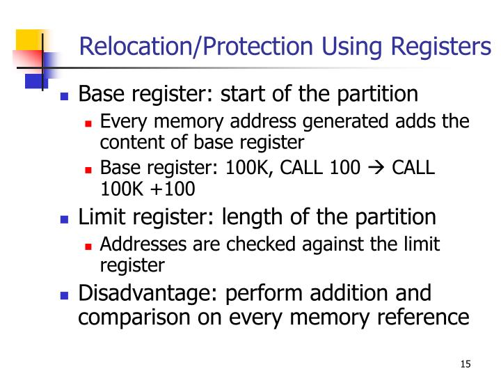 Relocation/Protection Using Registers
