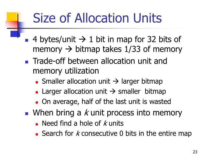 Size of Allocation Units