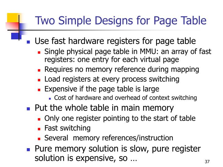 Two Simple Designs for Page Table