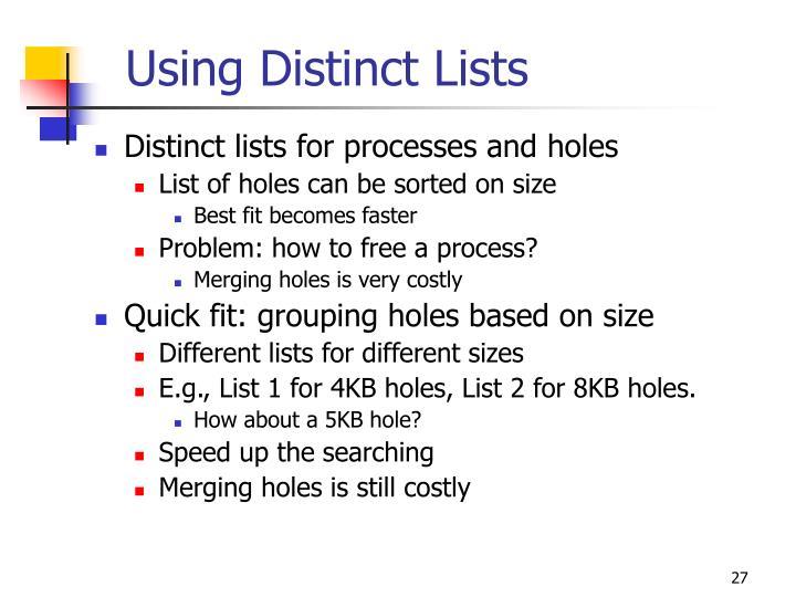 Using Distinct Lists