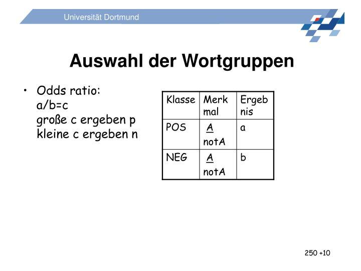 Auswahl der Wortgruppen