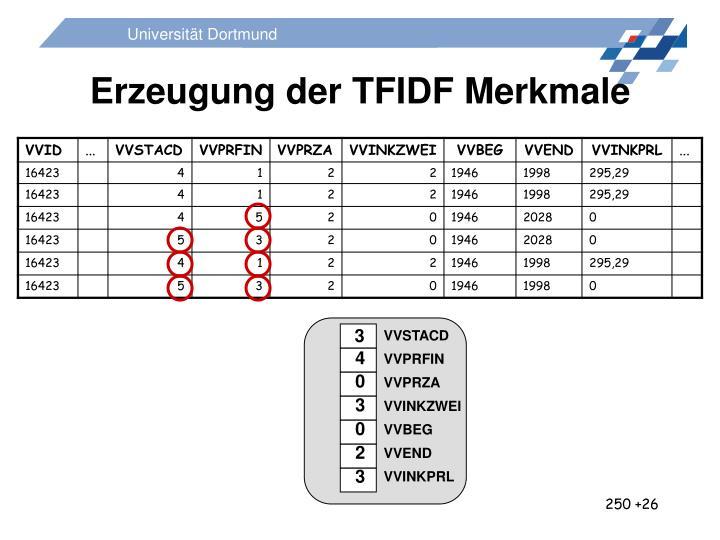 Erzeugung der TFIDF Merkmale