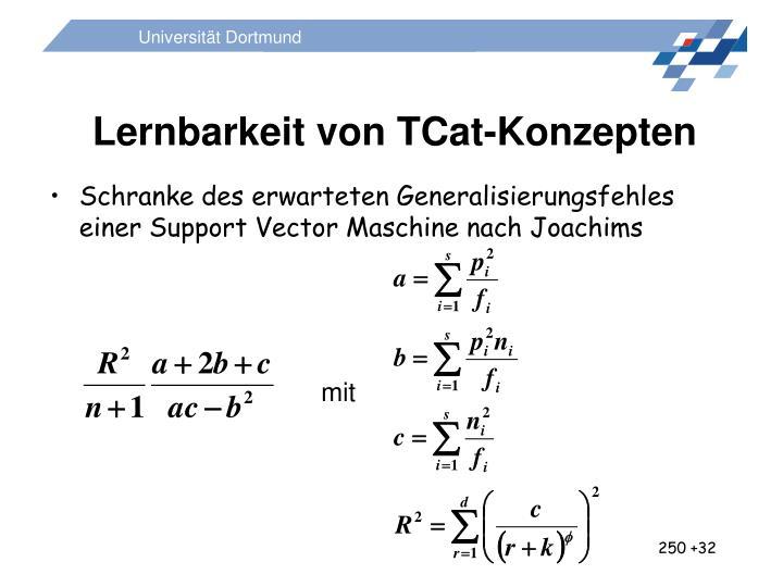 Lernbarkeit von TCat-Konzepten