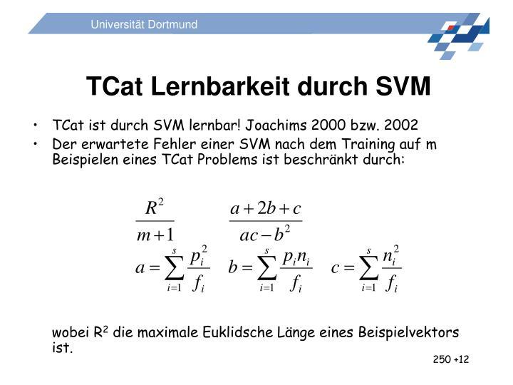 TCat Lernbarkeit durch SVM