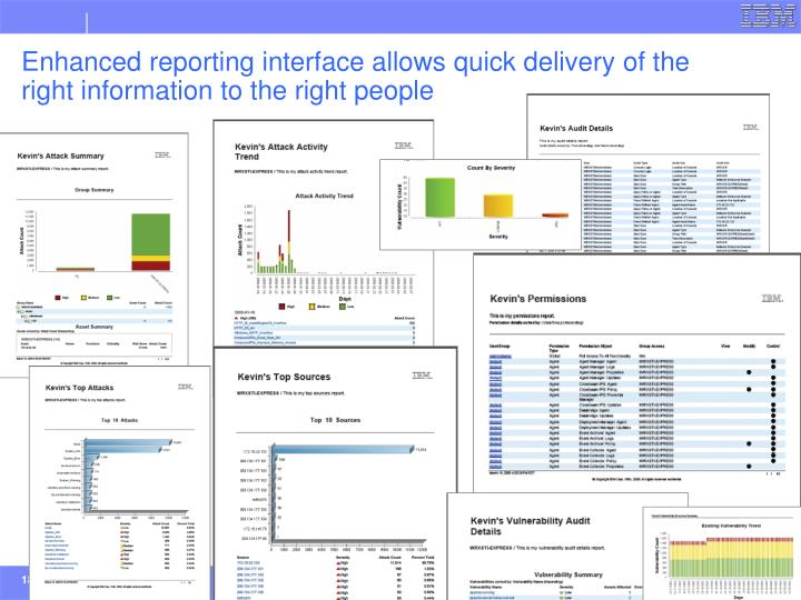 Enhanced reporting interface allows quick delivery of the right information to the right people