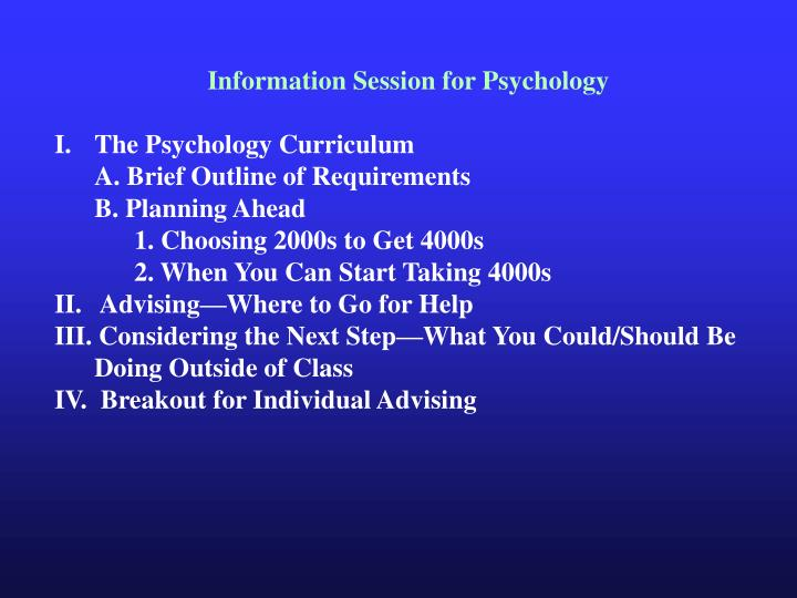 Information Session for Psychology