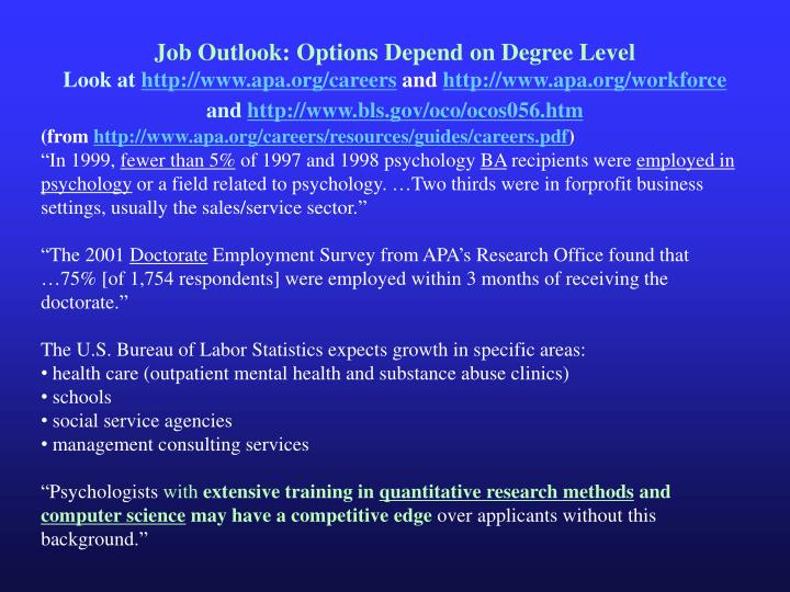 Job Outlook: Options