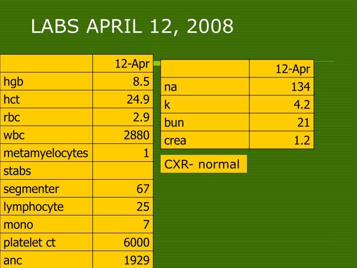 LABS APRIL 12, 2008