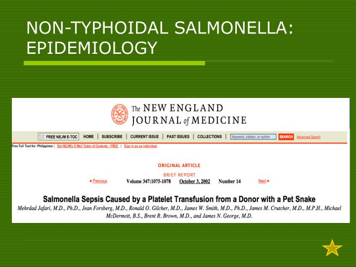 NON-TYPHOIDAL SALMONELLA: EPIDEMIOLOGY