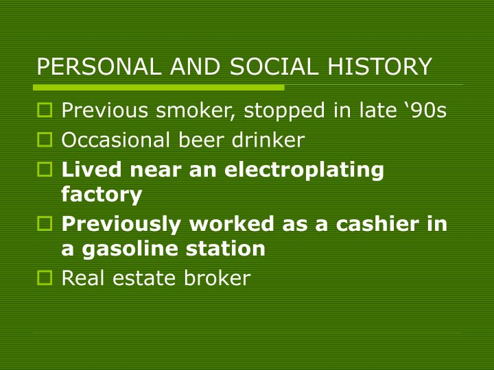 PERSONAL AND SOCIAL HISTORY