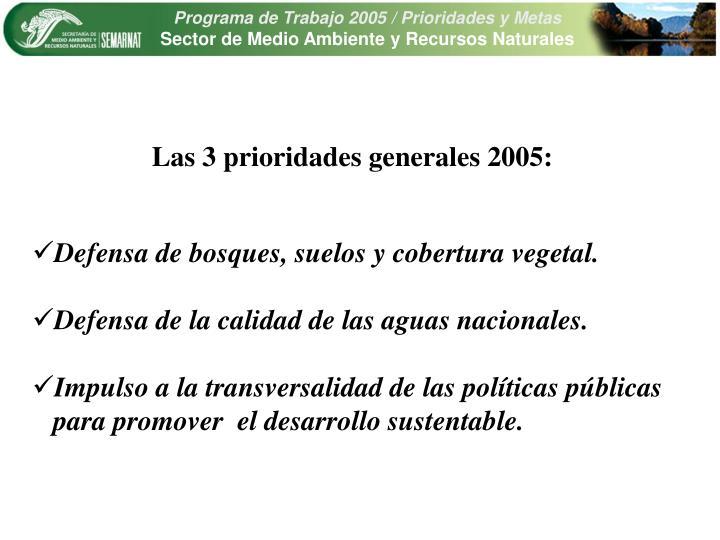Las 3 prioridades generales 2005: