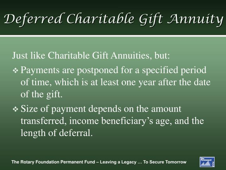 Deferred Charitable Gift Annuity