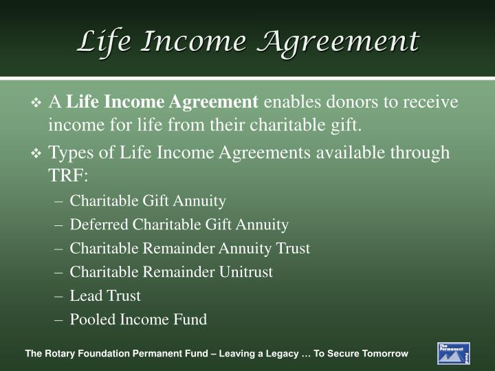 Life Income Agreement
