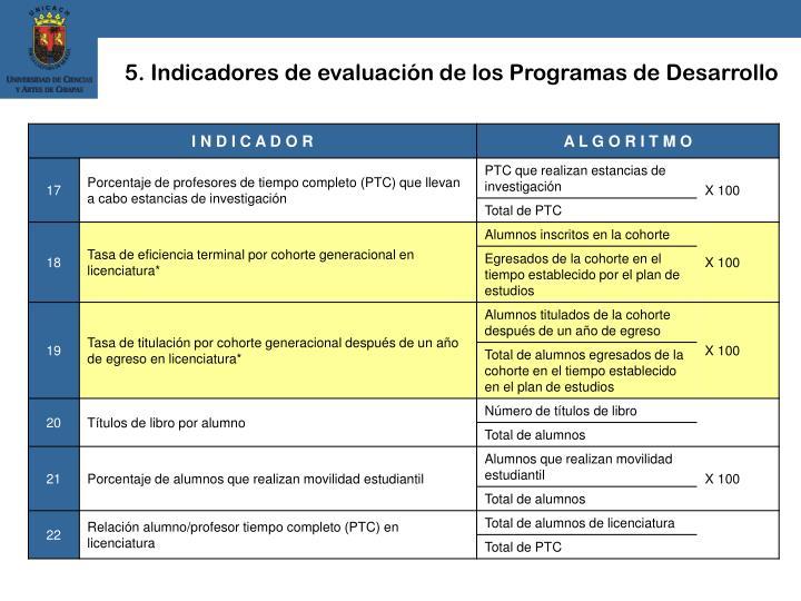5. Indicadores de evaluación de los Programas de Desarrollo