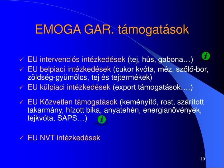 EMOGA GAR. támogatások