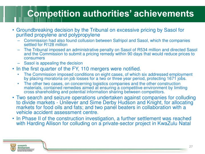 Competition authorities' achievements