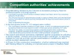 competition authorities achievements