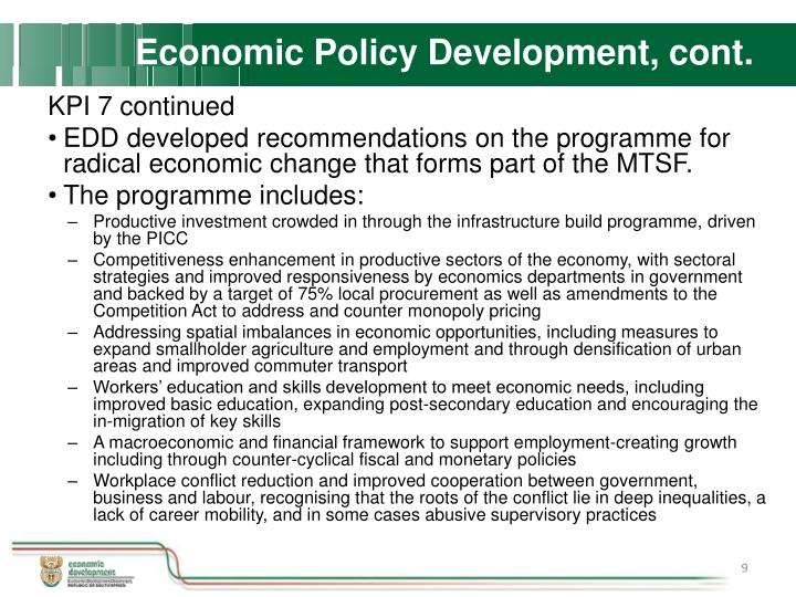 Economic Policy Development, cont.