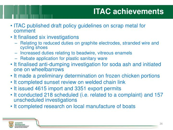 ITAC achievements