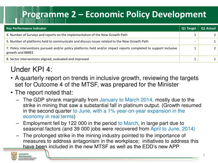 Programme 2 – Economic Policy Development