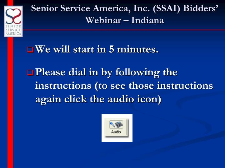 Senior service america inc ssai bidders webinar indiana