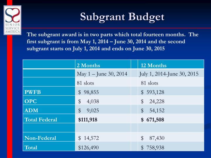 Subgrant Budget