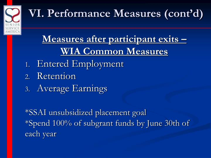 VI. Performance Measures (cont'd)
