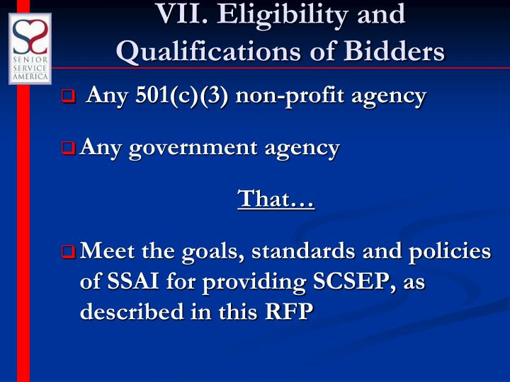 VII. Eligibility and Qualifications of Bidders