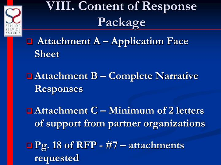 VIII. Content of Response Package